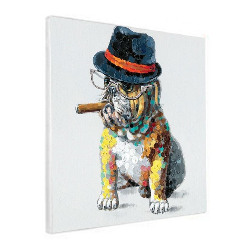 """Bouledogue au cigare"", Tableau contemporain Pop art, 60x60."