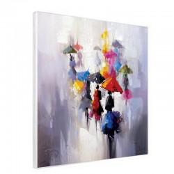 """"""" Parapluies 3"""", Tableau contemporain urbain, 80x80"""