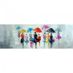 """"""" Ballet de parapluies """", tableau contemporain urbain,50 x 150."""