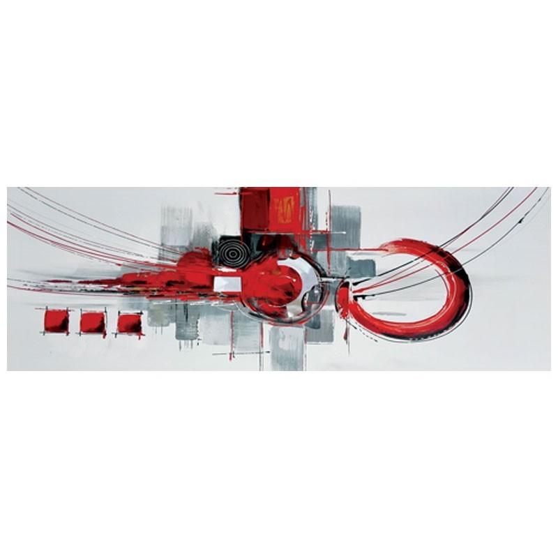 """"""" Géométrique rouge """", Tableau contemporain design 40x120."""