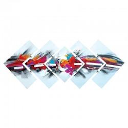 Tableau triptyque déstructuré alu, rose et bleu 57x145