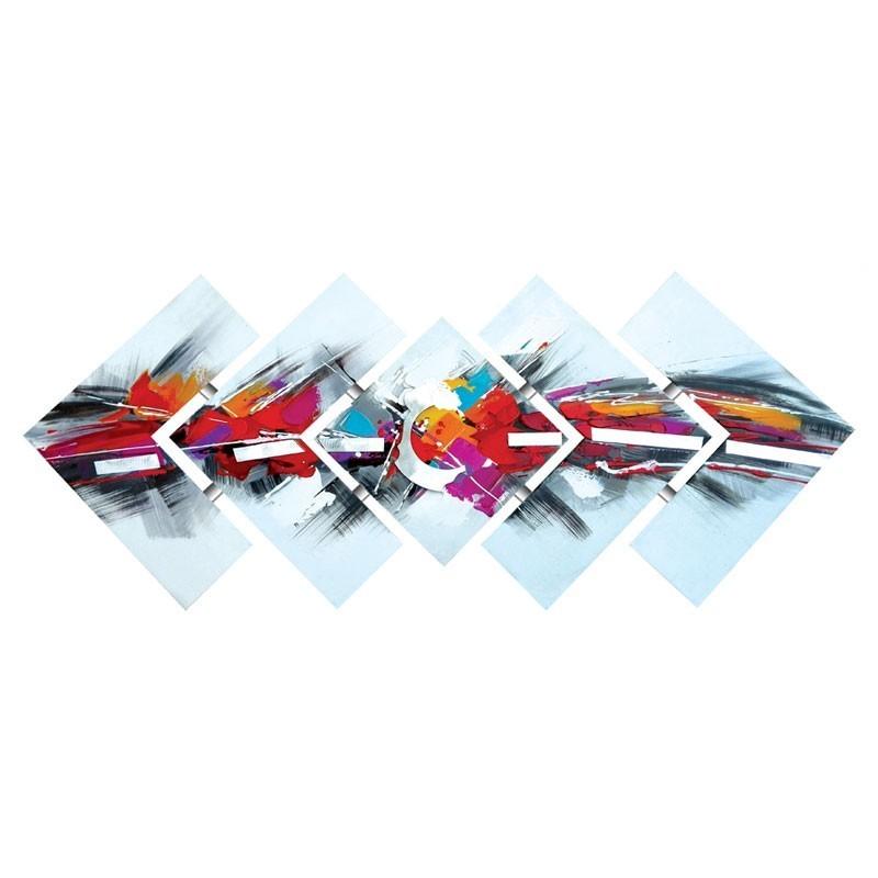Tableau triptyque déstructuré multicolore 57x145