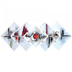 Tableau triptyque abstrait déstructuré  57x145