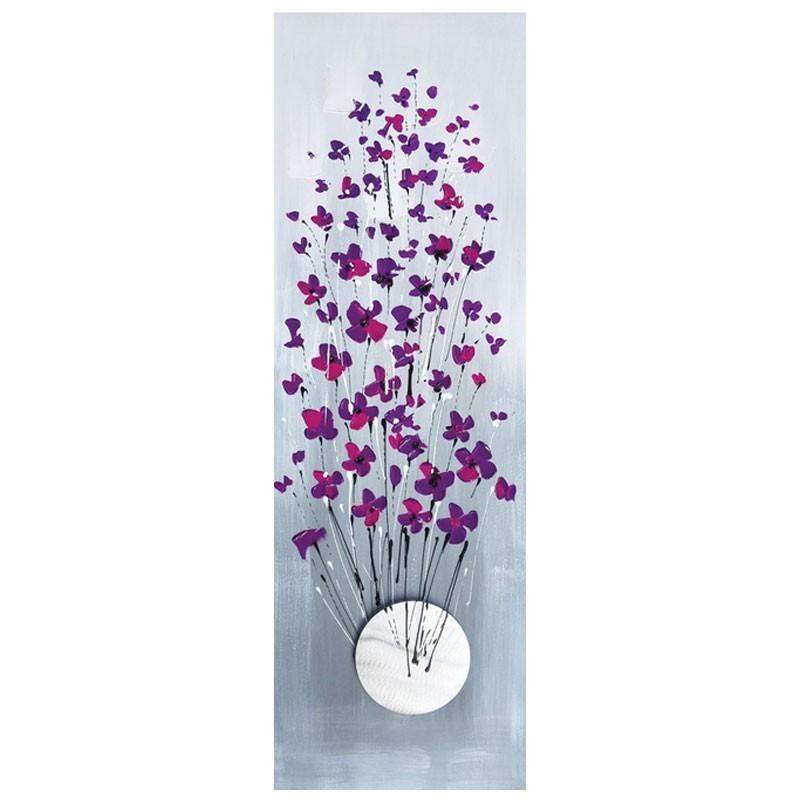 """"""" fleurs mauves """", Tableau contemporain floral,40x120."""
