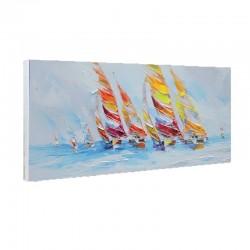 Tableaux mer et voiliers colorés 50x150
