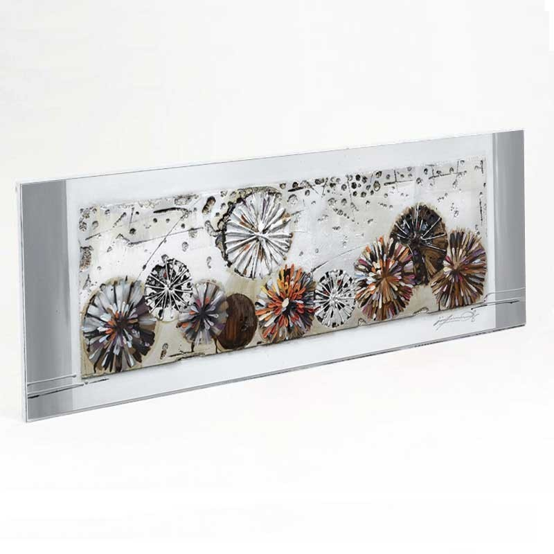 """"""" Cercles abstraits """", tableau contemporain design, 50x150 cm"""