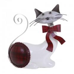Statuette chat couché balnc rouge Bengali