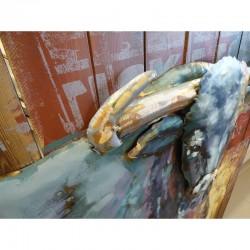 Tableau métal et bois TAUREAU 80X120