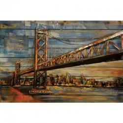 Tableau métal et bois PONT DE SAN FRANCISCO 80X120