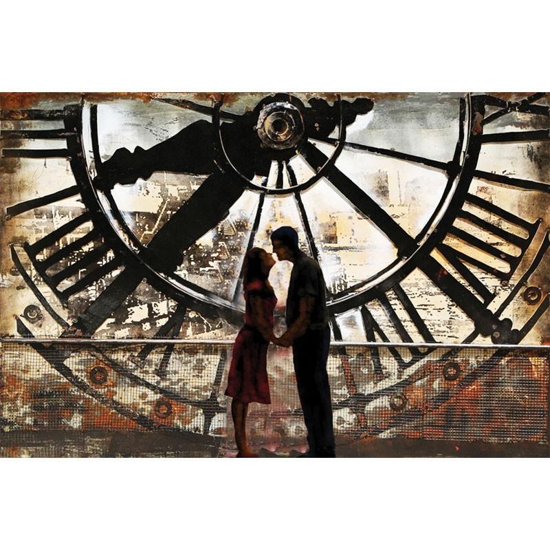 Tableau métal contemporain, baiser couple