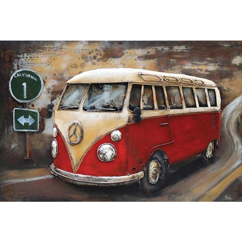 """""""Combi/van rouge"""", tableau métal 3D,80x120"""