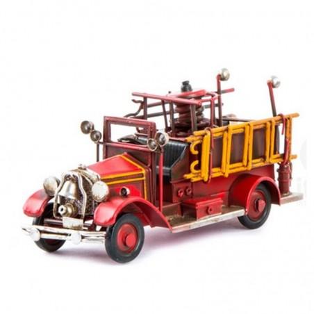 Décoration métal CAMION DE POMPIERS rouge vintage
