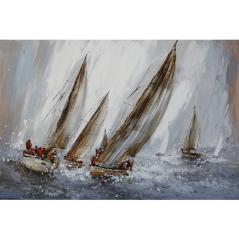 """"""" Voiliers métal """", tableau contemporain marin, 80x120."""