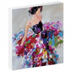 Tableau contemporain FEMME ROBE COLOREE