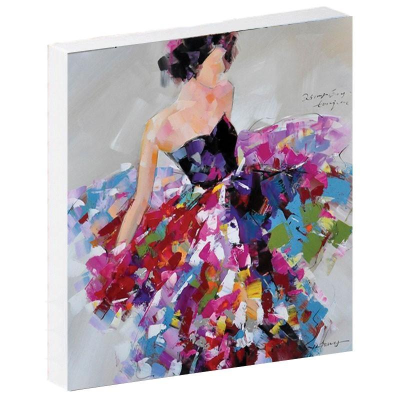 """ Femme robe rose "", Tableau contemporain figuratif, 80x80."