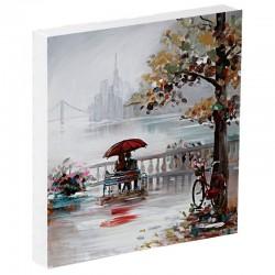 """"""" Amoureux sur un banc """" Tableau contemporain urbain,80x80."""