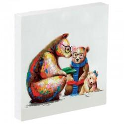 Peinture contemporaine OURS A LA LECTURE 60x60.