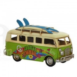 """ Van-combi vert Flower"", véhicule déco métal vintage"