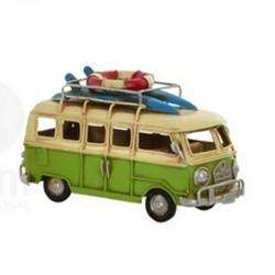 """ Van vert surf"", véhicule déco métal vinatge"