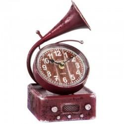 """Horloge vintage """"Gramophone """" bordeau"""