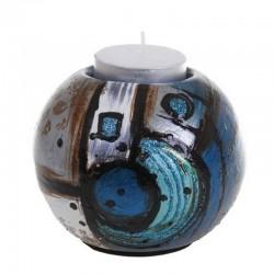 Bougeoir décor géométrique bleu ACAPULCO