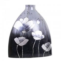 Vase décor COQUELICOTS gris