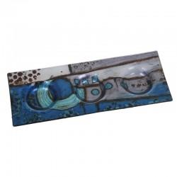 Plat pour bougoirs décor géometrique bleu