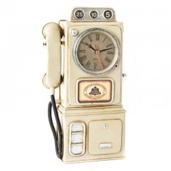 """Horloge vintage """" Cabine téléphonique """" beige"""