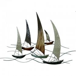 """"""" Voiliers voiles texturées """", décoration murale métal"""