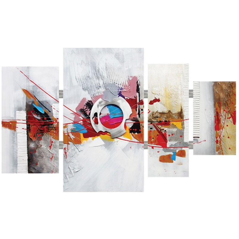 Tableau triptyque contemporain multicolore.