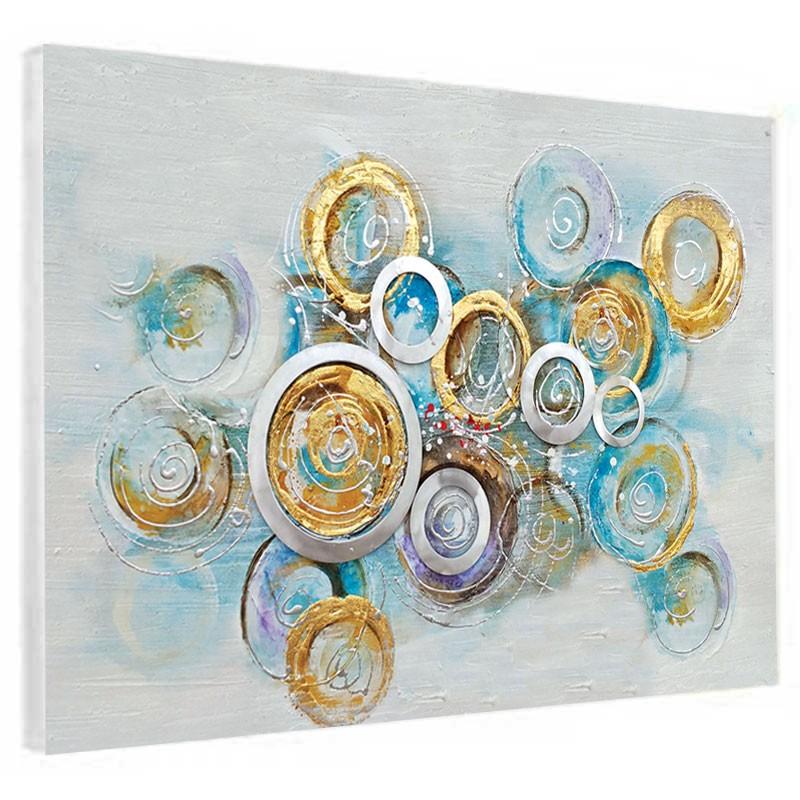 """"""" Cercles bleu/or """", Tableau contemporain design 60x80."""