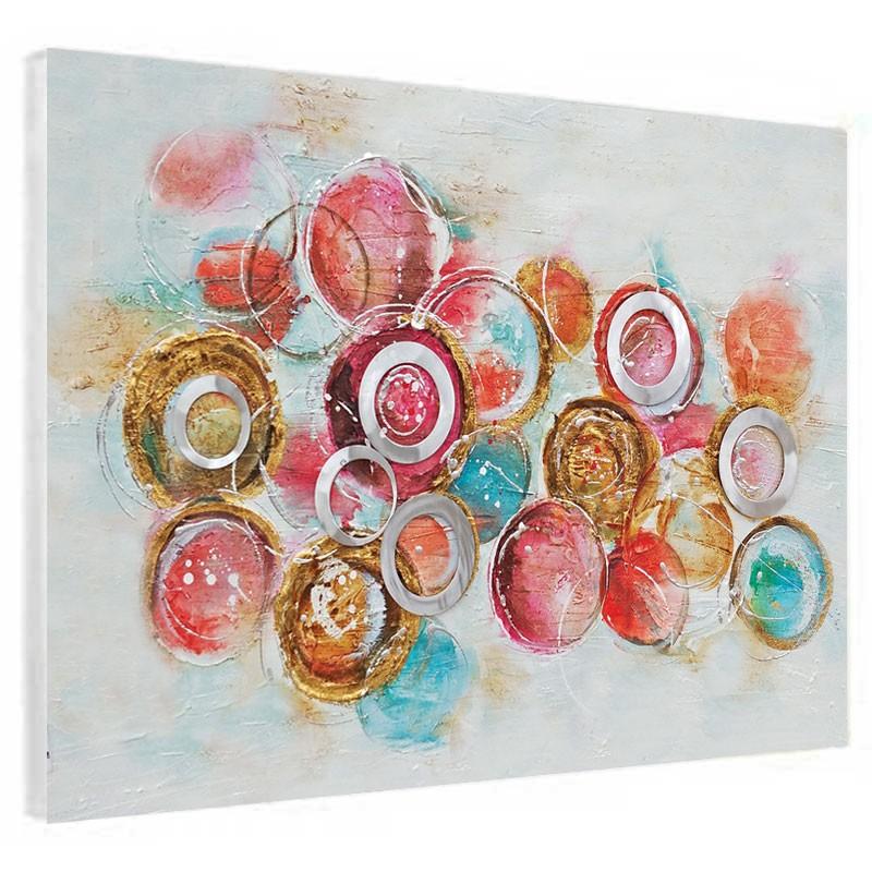 """"""" Cercles rouges et métal  """", Tableau contemporain abstrait 60x80."""