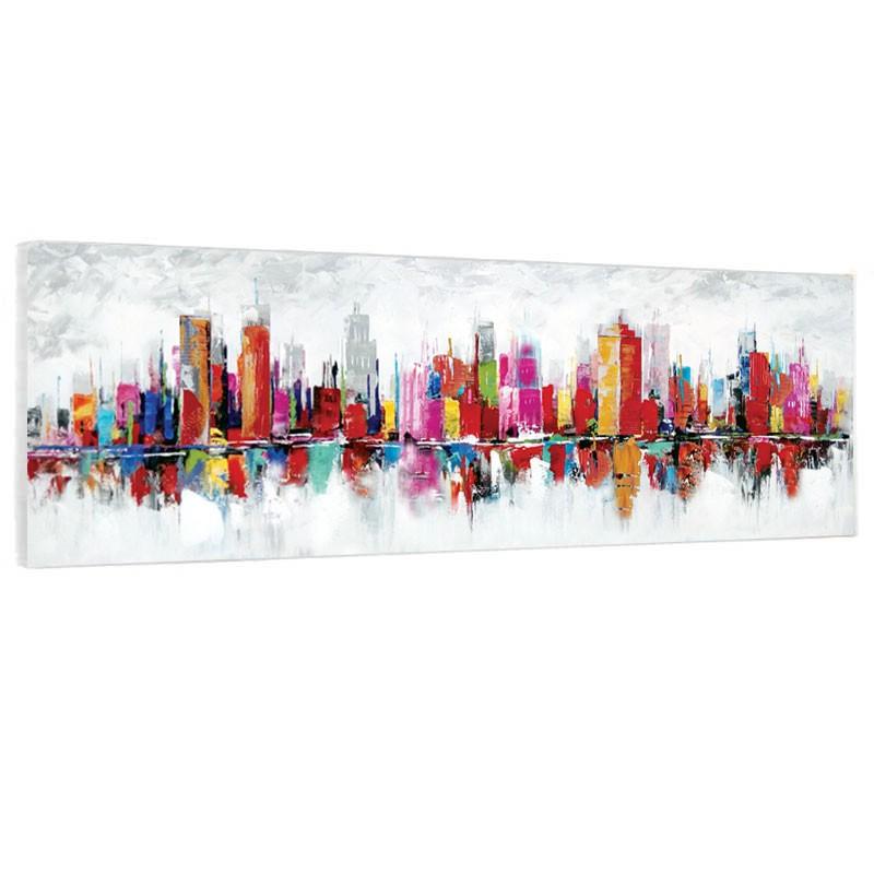 """"""" New York """", Tableau contemporain ville 50x150."""
