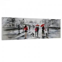 "Tableau contemporain "" ballade en ville "", 40x120."