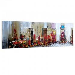 """ New York métal "", Tableau contemporain urbain 50x150."