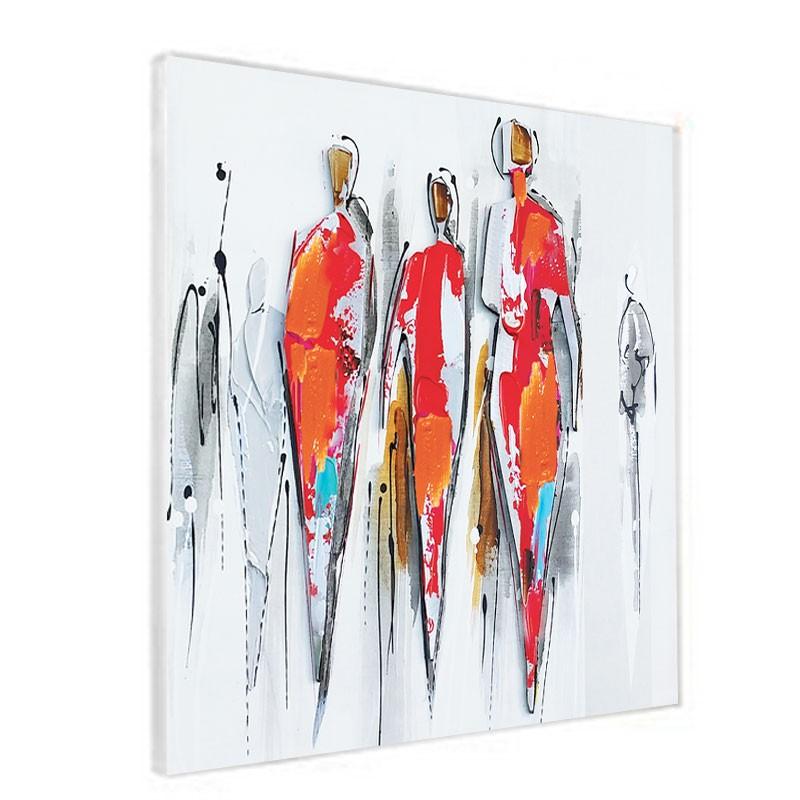 """Tableau contemporain """" Personnages métal 2"""", 60x60."""