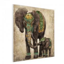 """"""" Eléphant et son petit """",Tableau contemporain, 80x80."""