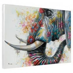 """"""" éléphant fleuri"""", Tableau contemporain,90x120."""
