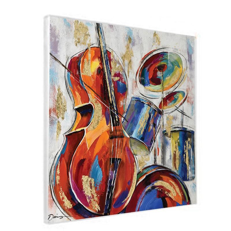 """"""" Orchestre """", Tableau contemporain musique, 80x80."""