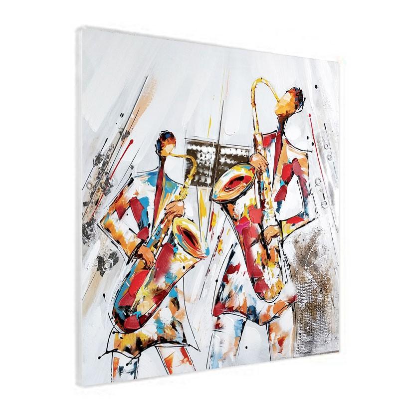 """"""" Saxophonistes """", Tableau contemporain musique,60x60."""
