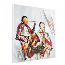 """"""" Saxo """", Tableau contemporain musique, 80x80 cm."""