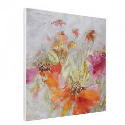 """"""" Fleurs oranges """", Tableau contemporain floral, 60x60."""