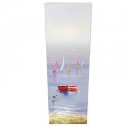 """ Barque rouge "", Tableau contemporain marin, 30x90."