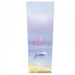 """Tableau contemporain """" barque et voiliers """", 40x120 cm."""