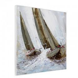 """Tableau contemporain """" Voiliers métal """", 60x60 cm."""