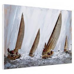 """Tableaux contemporains """" voiliers voiles métal """", 60x80 cm"""