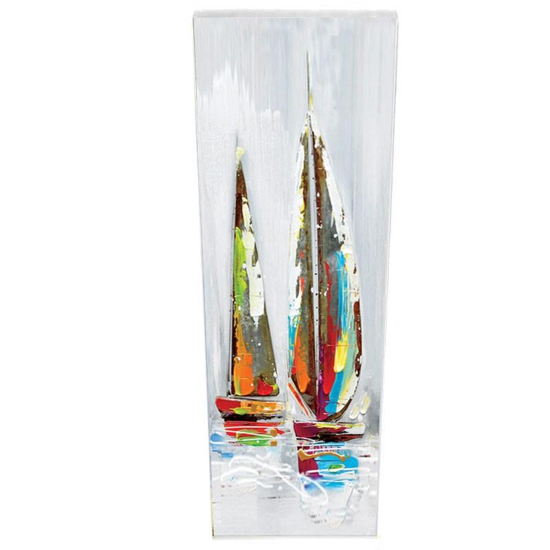 """"""" voiliers métal couleur """", Tableau contemporain marin 40x120."""