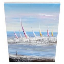 """Tableau contemporain """" régates, mer agitée 2 """", 60x80."""