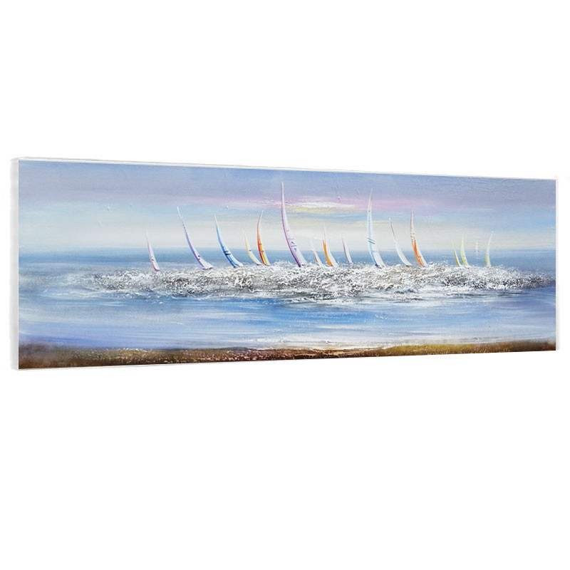 """ Mer agitée "", Tableau contemporain marin 40x120."