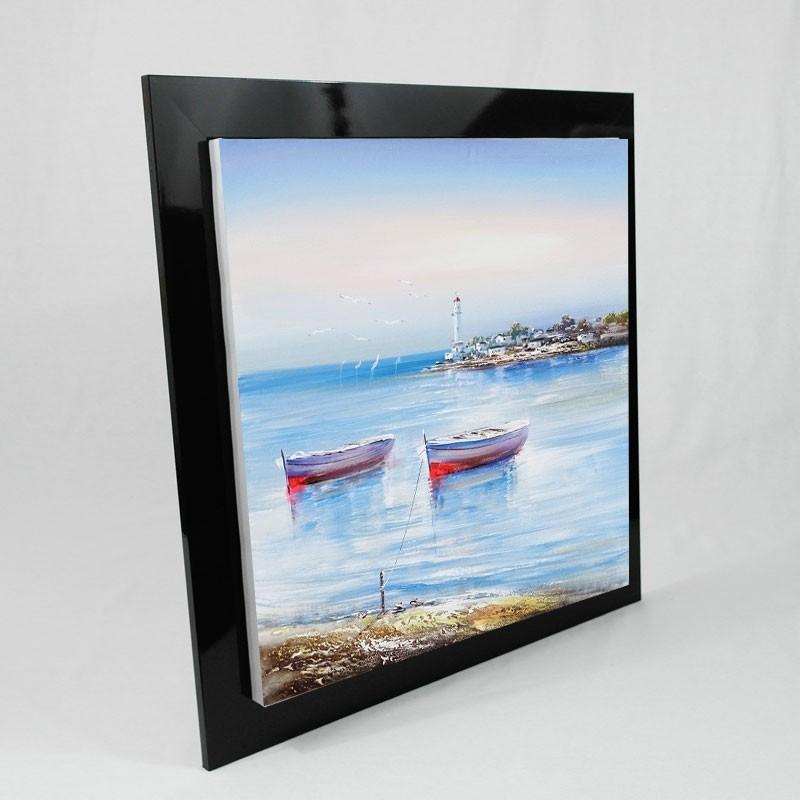 Tableau Paysage Breton et ses barques 80x80cm.